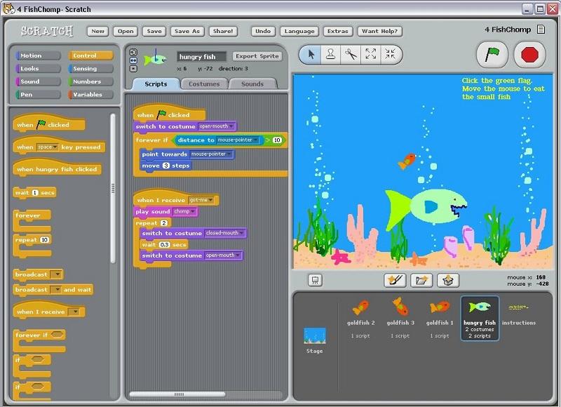 """© Подводный мир увлекателен и разнообразен. Ребенок создает собственный сценарий игры с помощью блоков-команд. Пришло время """"накормить"""" голодную зеленую рыбку."""